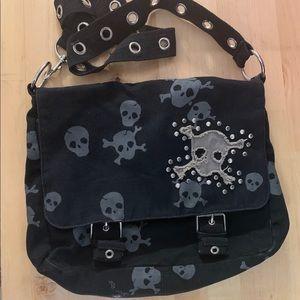Medium Skull Canvas Crossbody Messenger Bag